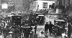Pictured: Crowd gathered following the explosion on Wall Street, September 16, 1920.