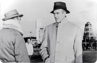 The movie - Otto Preminger and Jimmy Stewart on the set.