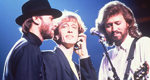 Pictured: The Bee Gees (l-r): Maurice, Robin and Barry Gibb