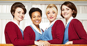 Pictured: Jennifer Kirby as Valerie, Leonie Elliott as Lucille, Helen George as Trixie, Charlotte Ritchie as Barbara