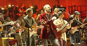Pictured: Eric Clapton (left) and Ringo Starr (center) perform at the 2002 Concert for George.