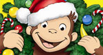 Pictured: Curious George wearing a Christmas wreath