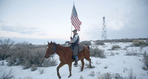 Pictured: Man riding horse with American flag.