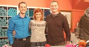 Pictured: The Yarn Guys, Jeffrey Wall and Dennis Rinkenburger, with host Vicki Howell.