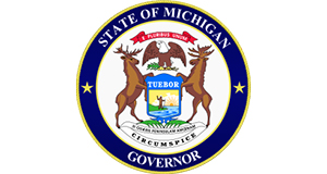 Pictured: Seal of the State of Michigan Governor.