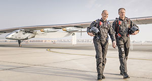 Pictured: Borschberg and Piccard with Solar Impulse 2