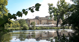 Pictured: Buckingham Palace across the lake