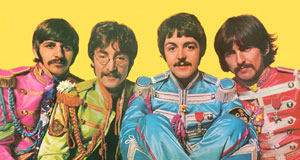 Pictured: Ringo, John Paul and George from the centerfold of  the Beatles' Sgt. Pepper's Lonely Hearts Club Band album cover.