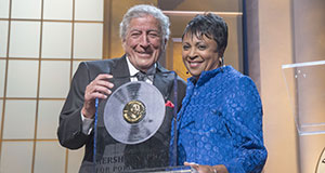 Pictured: Honoree Tony Bennett with Librarian of Congress Carla Hayden as she presents the Library of Congress Gershwin Prize for Popular Song.