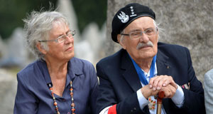 Pictured: Samuel and wife Ada Willenberg sitting together at a memorial ceremony, 2012.