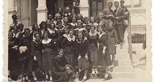Pictured: Girls in front of Kastoria high school.
