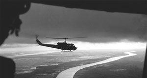 Pictured: Helicopters over the Mekong Delta, Vietnam.